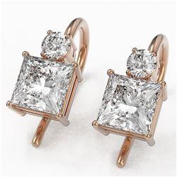 1.25 ctw Princess Cut Diamond Designer Earrings 18K Rose Gold