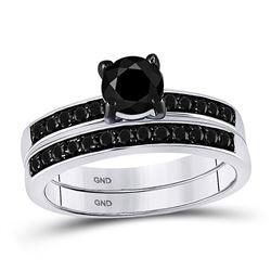 10kt White Gold Round Black Color Enhanced Diamond Bridal Wedding Engagement Ring Band Set 1.00 Cttw