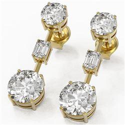 5 ctw Diamond Designer Earrings 18K Yellow Gold