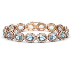 29.53 ctw Sky Topaz & Diamond Micro Pave Halo Bracelet 10K Rose Gold