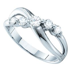 14kt White Gold Round Diamond 5-stone Crossover Ring 1/2 Cttw