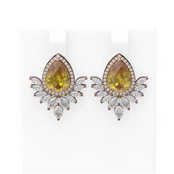 9.54 ctw Canary Citrine & Diamond Earrings 18K Rose Gold
