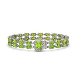 25.81 ctw Peridot & Diamond Bracelet 14K White Gold