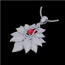 3 ctw Ruby & Micro Pave VS/SI Diamond Necklace 18K White Gold