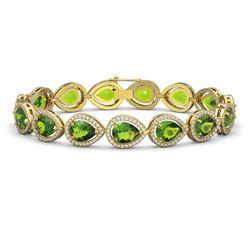15.8 ctw Peridot & Diamond Micro Pave Halo Bracelet 10K Yellow Gold