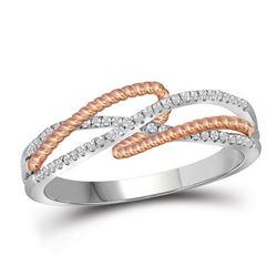 10kt White Gold Round Diamond Rope Fashion Band Ring 1/6 Cttw