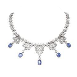 41.61 ctw Tanzanite & Diamond Necklace 18K White Gold