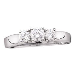 14kt White Gold Round Diamond 3-stone Bridal Wedding Engagement Ring 1-1/2 Cttw
