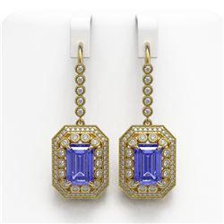11.66 ctw Tanzanite & Diamond Victorian Earrings 14K Yellow Gold
