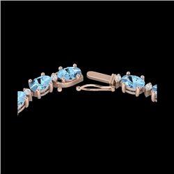 37.5 ctw Aquamarine & VS/SI Diamond Eternity Necklace 10K Rose Gold