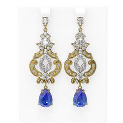 11.64 ctw Tanzanite & Diamond Earrings 18K Yellow Gold