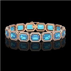 35.61 ctw Swiss Topaz & Diamond Micro Pave Halo Bracelet 10K Rose Gold