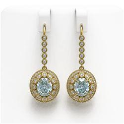 7.65 ctw Aquamarine & Diamond Victorian Earrings 14K Yellow Gold
