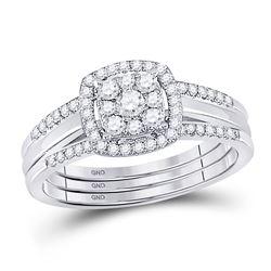 10kt White Gold Round Diamond 3-Piece Bridal Wedding Ring Set 1/2 Cttw