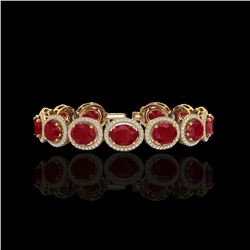 30 ctw Ruby & Micro Pave VS/SI Diamond Certified Bracelet 10K Yellow Gold