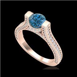 2 ctw Intense Blue Diamond Engagement Micro Pave Ring 18K Rose Gold