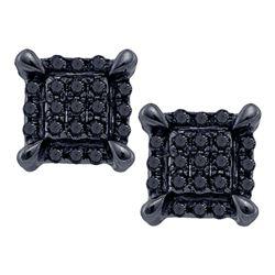 10kt White Gold Mens Round Black Color Enhanced Diamond Square Cluster Earrings 1/12 Cttw