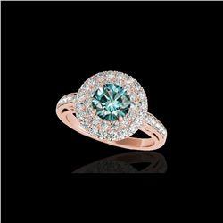 2.25 ctw SI Certified Fancy Blue Diamond Halo Ring 10K Rose Gold