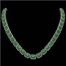 56.69 ctw Jade & Diamond Micro Pave Halo Necklace 10K White Gold