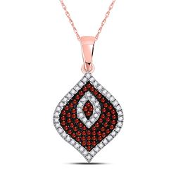 10kt Rose Gold Round Red Color Enhanced Diamond Fashion Pendant 1/3 Cttw