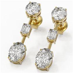 3.5 ctw Oval Cut Diamond Designer Earrings 18K Yellow Gold