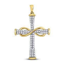 10kt Yellow Gold Round Diamond Cross Infinity Pendant 1/5 Cttw
