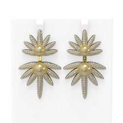 8 ctw Diamond and Pearl Earrings 18K Yellow Gold