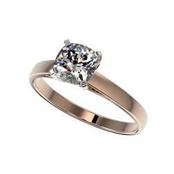 1 ctw Certified VS/SI Quality Cushion Cut Diamond Ring 10K Rose Gold