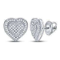 10kt White Gold Round Diamond Heart Cluster Screwback Earrings 1/4 Cttw