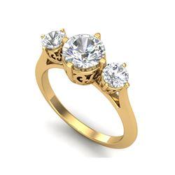 1.51 ctw VS/SI Diamond Solitaire Art Deco 3 Stone Ring 18K Yellow Gold