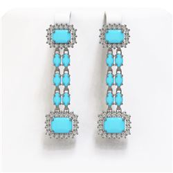 9.54 ctw Turquoise & Diamond Earrings 14K White Gold