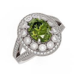 4.25 ctw Certified Tourmaline & Diamond Victorian Ring 14K White Gold