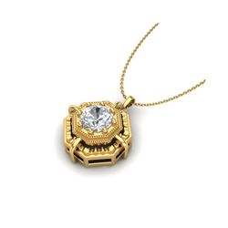 0.75 ctw VS/SI Diamond Art Deco Stud Necklace 18K Yellow Gold