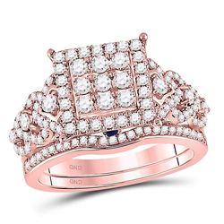 14kt Rose Gold Round Diamond Bridal Wedding Engagement Ring Band Set 1.00 Cttw