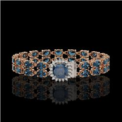 17.87 ctw London Topaz & Diamond Bracelet 14K Rose Gold