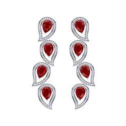 16.44 ctw Designer Ruby & VS Diamond Earrings 18K White Gold