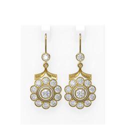 7 ctw Diamond Earrings 18K Yellow Gold