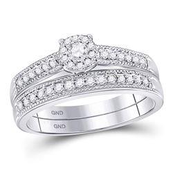 10kt White Gold Round Diamond Milgrain Bridal Wedding Engagement Ring Band Set 1/3 Cttw