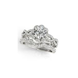 1.93 ctw Certified VS/SI Diamond 2pc Wedding Set Halo 14K White Gold