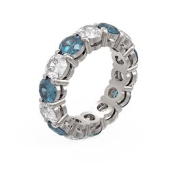7.28 ctw Intense Blue Diamond Ring 18K White Gold