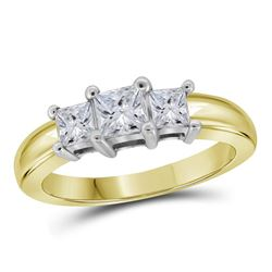 14kt Yellow Gold Princess Diamond 3-stone Bridal Wedding Engagement Ring 5/8 Cttw