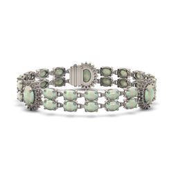 21.87 ctw Opal & Diamond Bracelet 14K White Gold