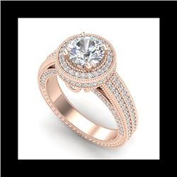 2.8 ctw VS/SI Diamond Solitaire Art Deco Ring 18K Rose Gold