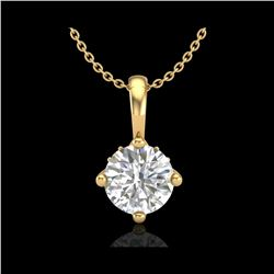 0.82 ctw VS/SI Diamond Solitaire Art Deco Necklace 18K Yellow Gold