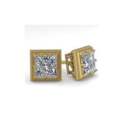 1.0 ctw VS/SI Princess Diamond Stud Earrings 18K Yellow Gold
