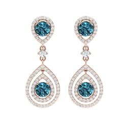 3.94 ctw Fancy Blue, SI Diamond Earrings 18K Rose Gold