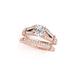 1.41 ctw Certified VS/SI Diamond 2pc Wedding Set Antique 14K Rose Gold