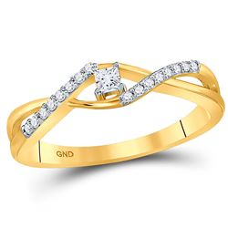 10kt Yellow Gold Princess Diamond Solitaire Promise Bridal Ring 1/6 Cttw