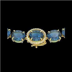 177 ctw London Blue Topaz & Diamond Micro Necklace 14K Yellow Gold