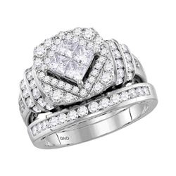 14kt White Gold Princess Diamond Bridal Wedding Engagement Ring Band Set 2.00 Cttw